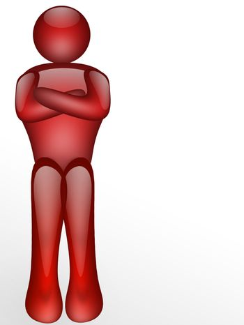 red illustration of person on white background