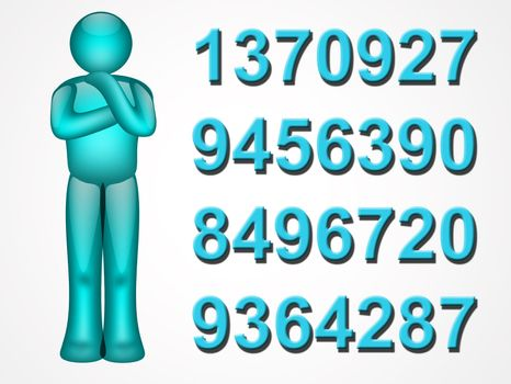 blue illustartion with person and numbers on white background