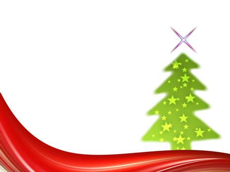 christmas tree on red waves