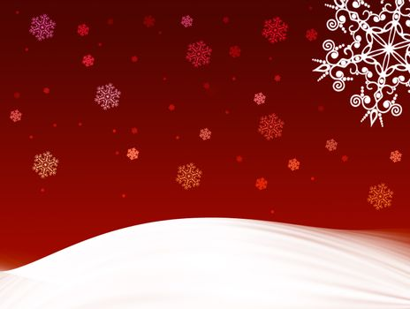 red christmas card with snow