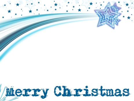 blue merry christmas card on white background