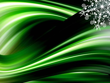 green waves with white star