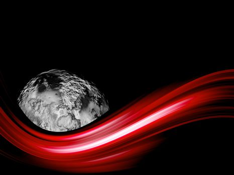 red wave whith planet on black background