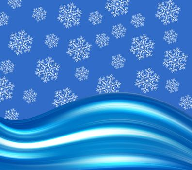blue conceptual background with snowflakes
