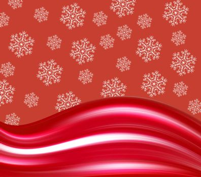 red wave background with snowflakes