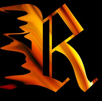 letter r with fire effect