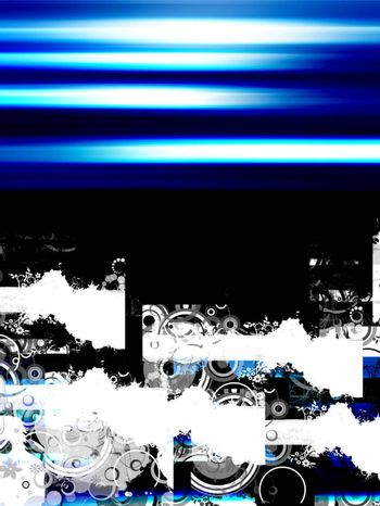 blue illustration with sample tetxt on black background