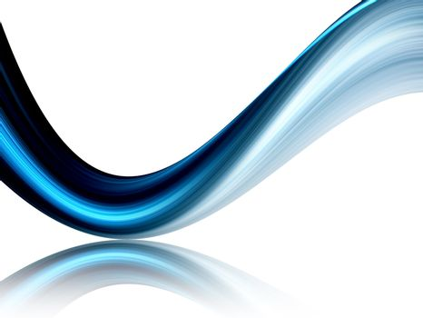 blue dynamic wave on white background, reflex effect