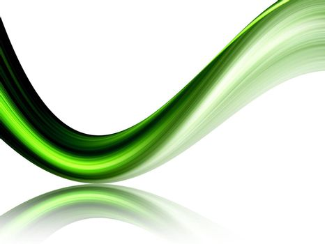 green dynamic wave on white background, with movement effect