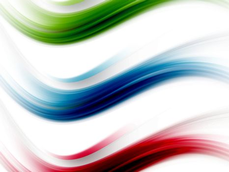 blue, red and green dynamic waves on white background