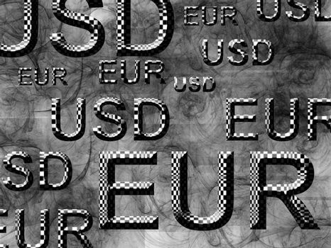 money illustration with eur and usd text