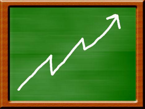 blackboard illustration with upward line. computer generated design