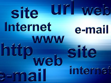 internet illustration, with words, site, url, internet, http, www and email