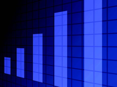 blue bars on blue background with squares