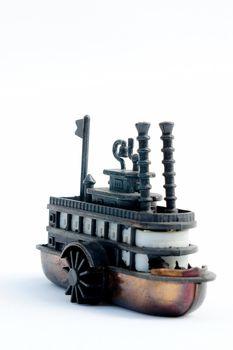 antique ship on white background, photo image