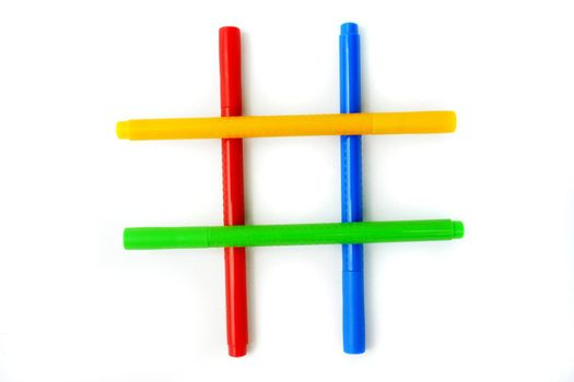 yellow, red, green and blue bookmarks colors on white background