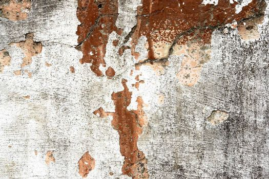 old wall with fissure, colors white and red