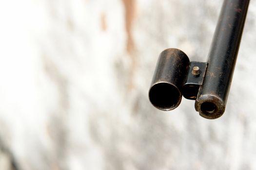old shotgun on white background with texture