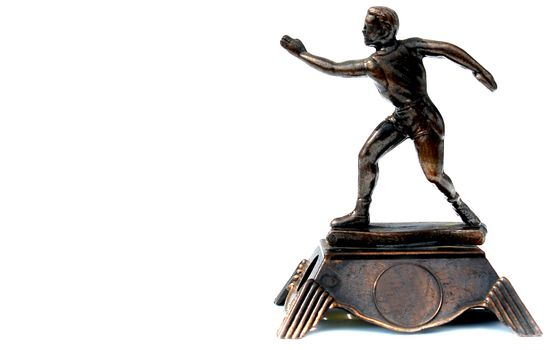 trophy figure on white background, glory represenattion