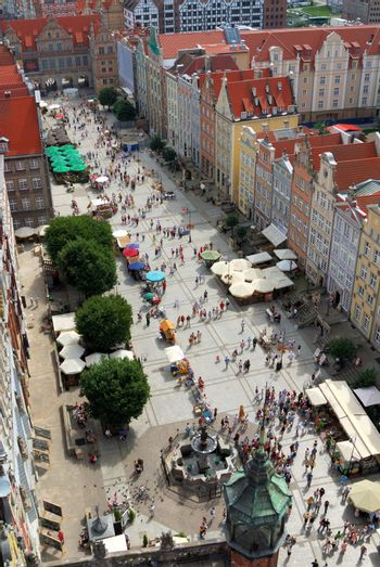 Dlugi Targ street (Long Market) in Gdansk (Poland), seen from old city hall tower