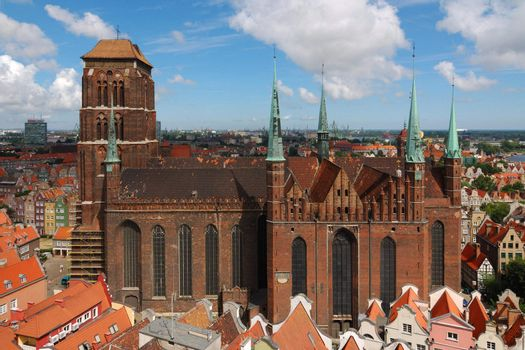 Old cathedral in Gdansk (Poland) seen from City Hall tower