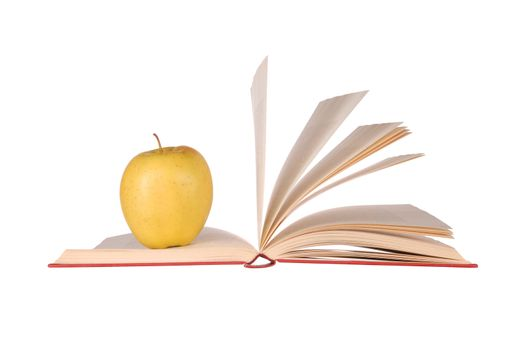 Open book and apple isolated on white background