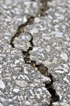 Crack in asphalt