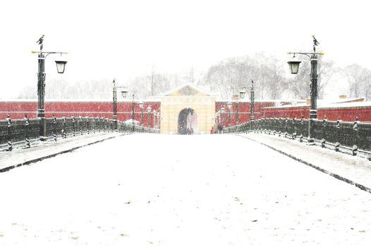 Bridge to John's Gates in Peter & Paul Fortress at snowfall in Saint Petersburg, Russia.