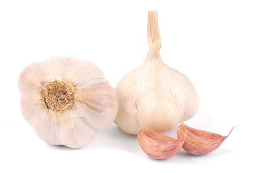 Macro of garlic isolated on white background