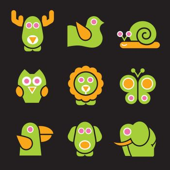 Set of stylized animals to use in your, ecologic, kids products or travel projects. Easy to change colors.