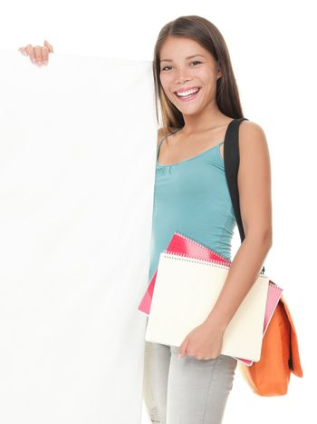 Female college student showing sign