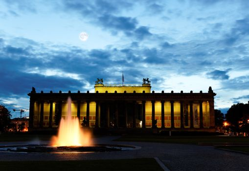 the Old Museum (Altes Museum) at night in Berlin, Germany