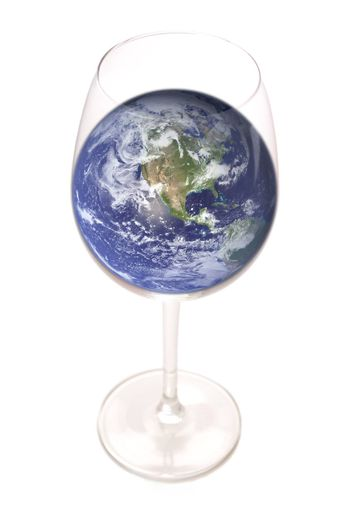 Conceptual image of planet Earth inside a Glass