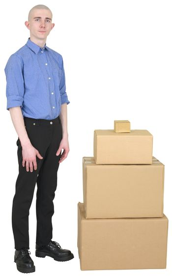 Man in overalls and cardboard boxes