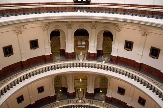 Inside the State Capitol Building in downtown Austin, Texas