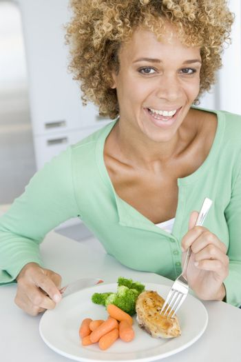 Woman Eating Healthy meal,mealtime