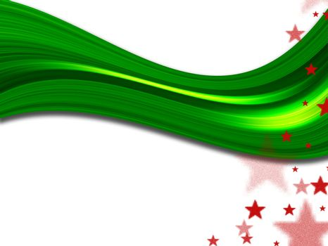 green wave and red stars. computer generated image