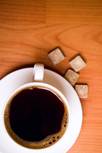 cup of coffee and sugar