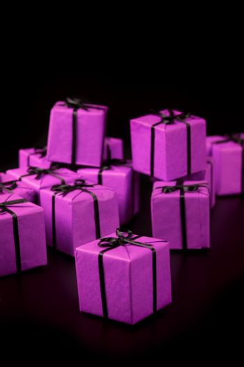 many violet gift boxes