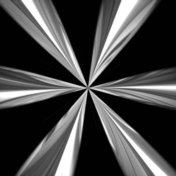 Shiny chrome vortex radiating isolated over a black background.