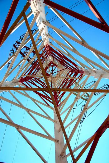 Red and white electricity pylon