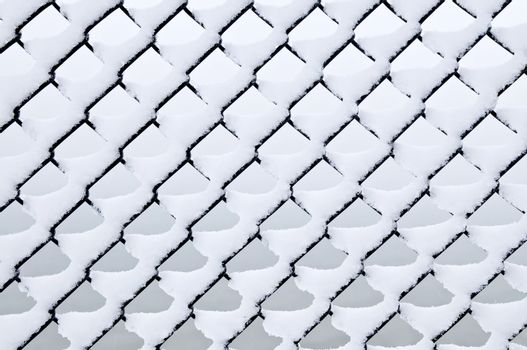 Link fence under snow