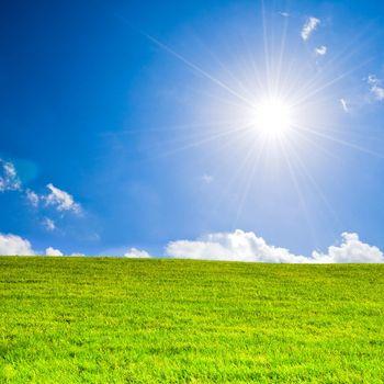 Sunbeams under a blue sky over green grass