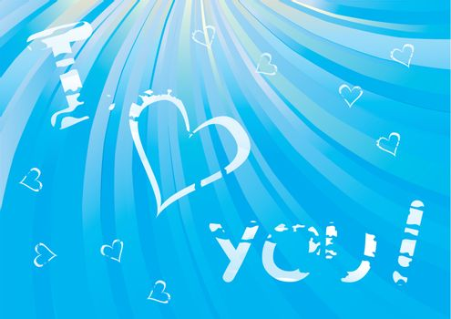 Cloudy I Love You message - Valentines Day vector illustration