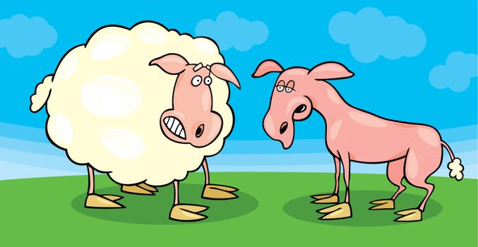 sheep frightened and shaved one
