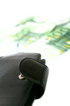 leather purse and euro