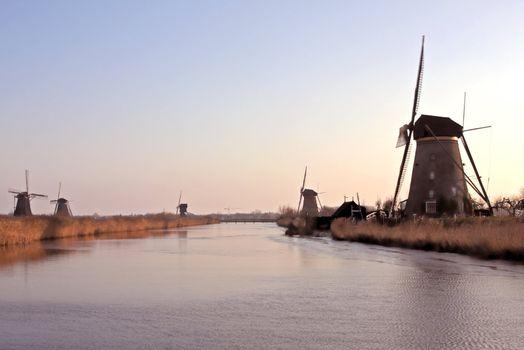 Windmills in wintertime at Kinderdijk in the Netherlands