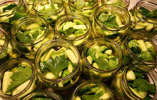 Glass jars of preserved cucumbers