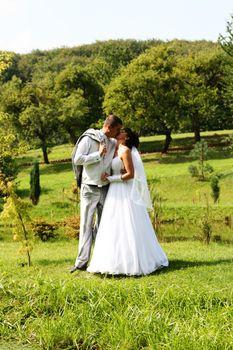 Young wedding couple outdoor