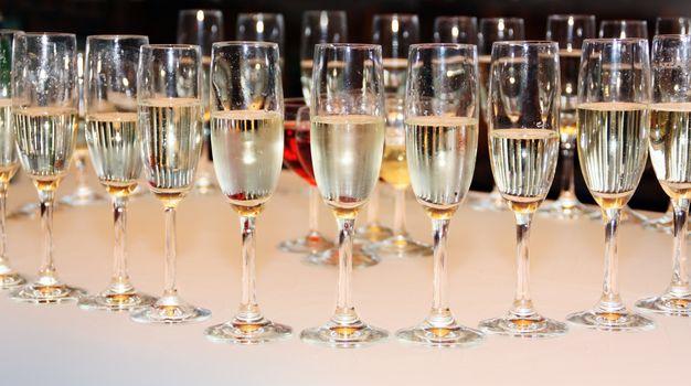 Elegant champagne glasses ready for celebrating